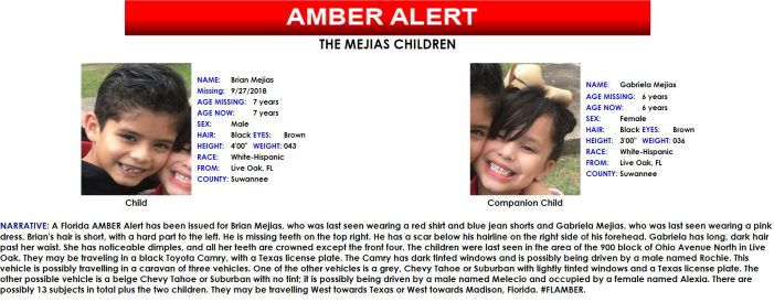 ACTIVE AMBER ALERT – Two missing children