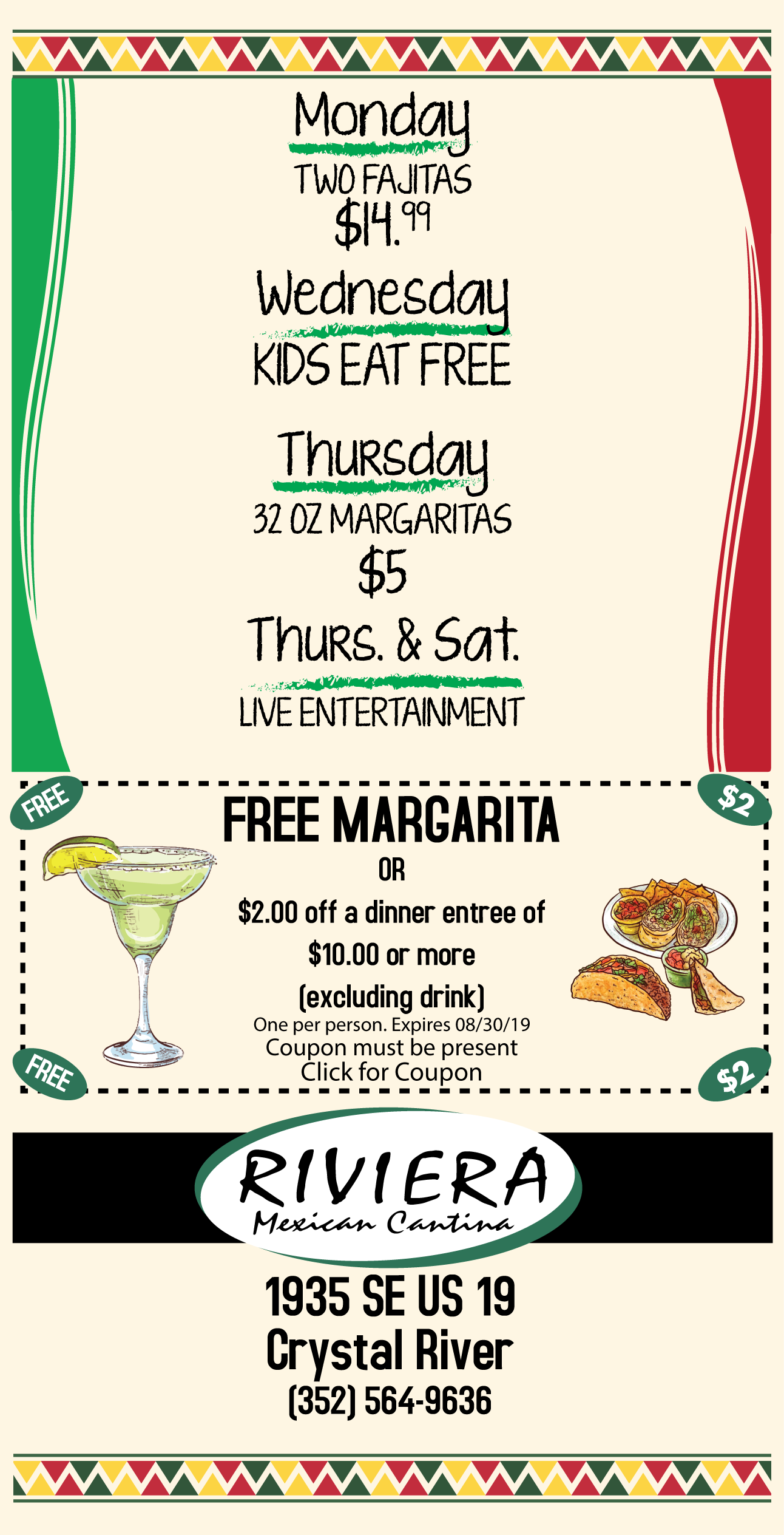 riviera mexican restaurant coupon, citrus gazette, mexican food crystal river