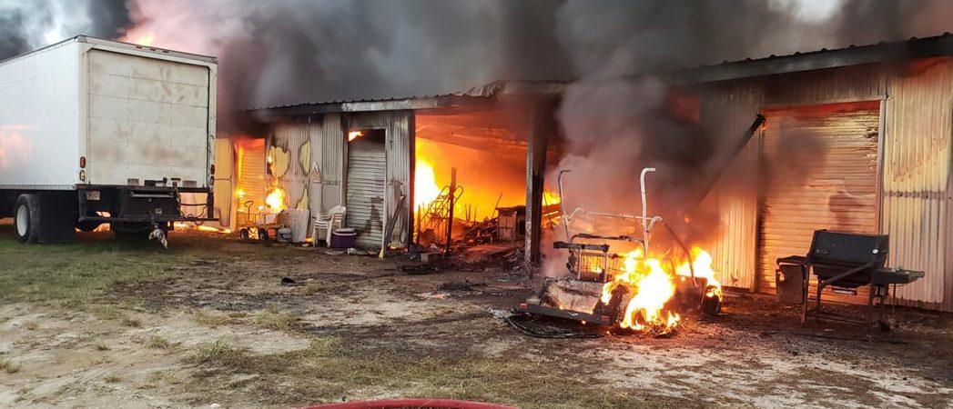 Firefighters battle fire at Market of Marion flea market